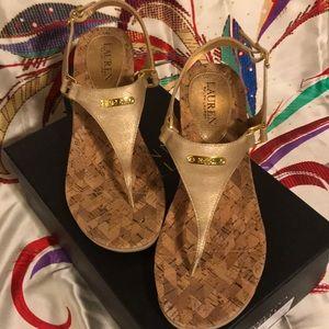 LAUREN Ralph Lauren gold metallic wedge sandal